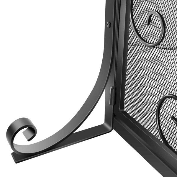 Wrought Iron Fireplace Screen with Doors Large Flat Guard Metal Decorative Mesh Cover Firewood Burning Stove Tools Black 5