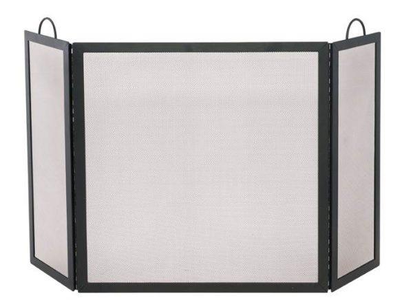 Wrought Iron Medium Fireplace Screen w Tri-Fold Configuration