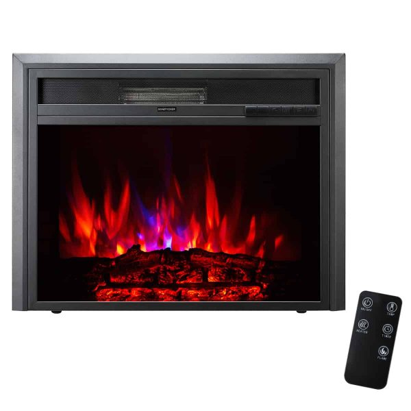 XBrand Insert Fireplace Heater w/Remote Control and LED Flame Effect, 25 Inch Long, Black 4