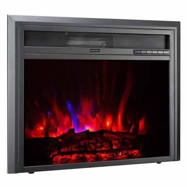XBrand Insert Fireplace Heater w/Remote Control and LED Flame Effect, 28 Inch Long, Black 2