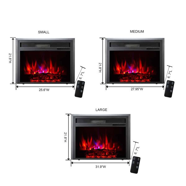 XBrand Insert Fireplace Heater w/Remote Control and LED Flame Effect, 28 Inch Long, Black 3