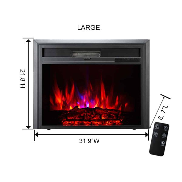 XBrand Insert Fireplace Heater w/Remote Control and LED Flame Effect, 32 Inch Long, Black 1