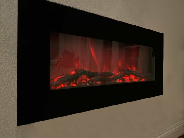 XBrand Wall Mount Adjustable Fireplace Heater with Manual/Remote Control and LED Flame Effect, 750/1500 Watts, 16 Inch Tall, Black 1