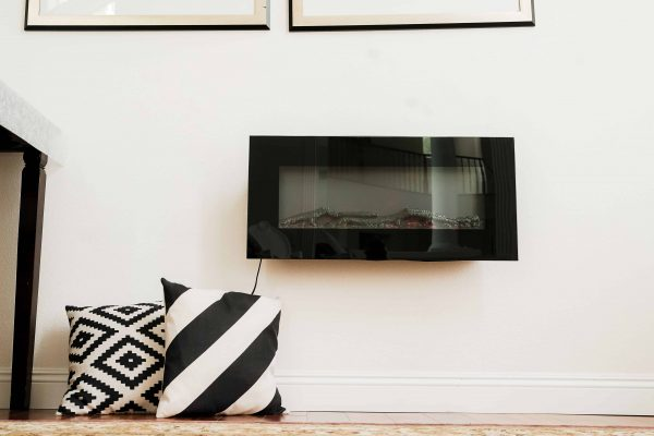 XBrand Wall Mount Adjustable Fireplace Heater with Manual/Remote Control and LED Flame Effect