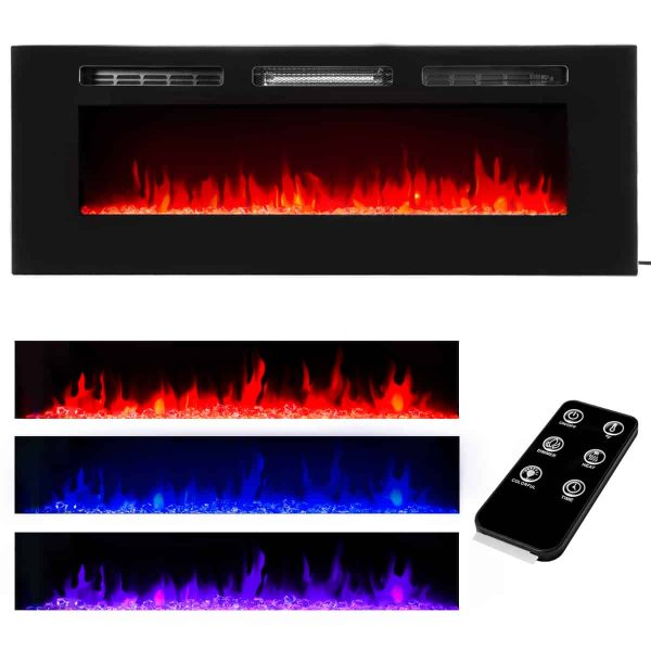 "XtremepowerUS 50"" Dual Insert Mount / In-Wall Recessed Wall Mount Electric Fireplace Insert Heater Adjustable Flame Remote Control"