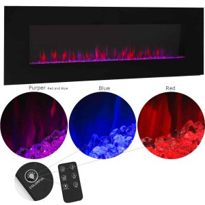 """XtremepowerUS 50"""" Wall Mount Electric Fireplace Changeable Flame Glass + Remote Control"""