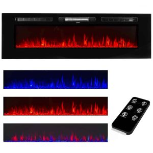 "XtremepowerUS 60"" 1500W In-Wall Recessed Electric Fireplace Heater w/ Remote Control"