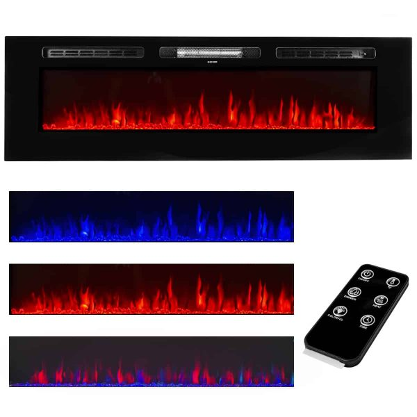 """XtremepowerUS 60"""" 1500W In-Wall Recessed Electric Fireplace Heater w/ Remote Control"""