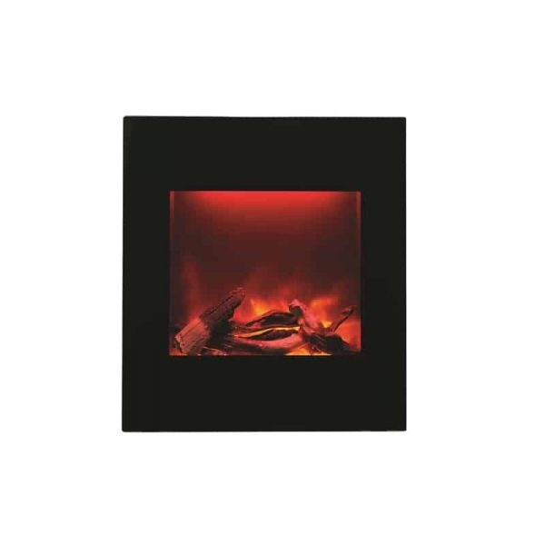 ZECL electric fireplace with Black Glass surround 15 pce. Log set 2