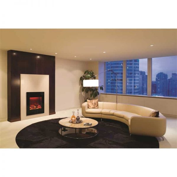 ZECL electric fireplace with Black Glass surround 15 pce. Log set