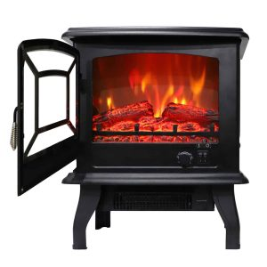ZOKOP 1500W Electric Fireplace Stove Heater for Office and Home Fire Flame Stove Wood Adjustable