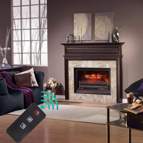 "ZOKOP 23"" Electric Fireplace Log Insert Heater with Ember Bed & Remote Controller, Black 9"