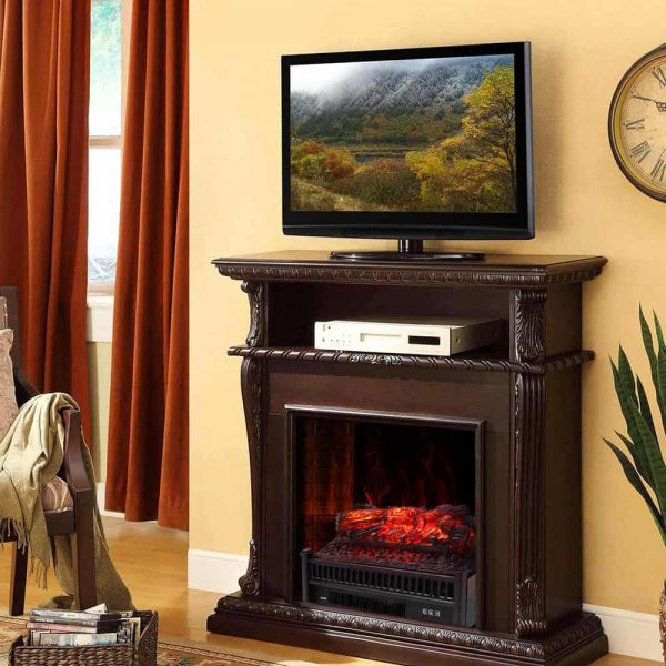 "ZOKOP 23"" Electric Fireplace Log Insert Heater with Ember Bed & Remote Controller, Black 8"