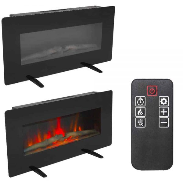 "ZOKOP 36"" 1400W Electric Wall Mounted Smokeless Ventless Fireplace Heater w/Remote Control 1"