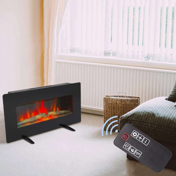 "ZOKOP 36"" 1400W Electric Wall Mounted Smokeless Ventless Fireplace Heater w/Remote Control 6"