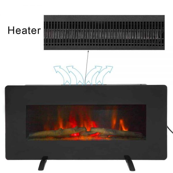 "ZOKOP 36"" Adjustable Indoor Electric Wall Mounted Fireplace Heater, Black 3"