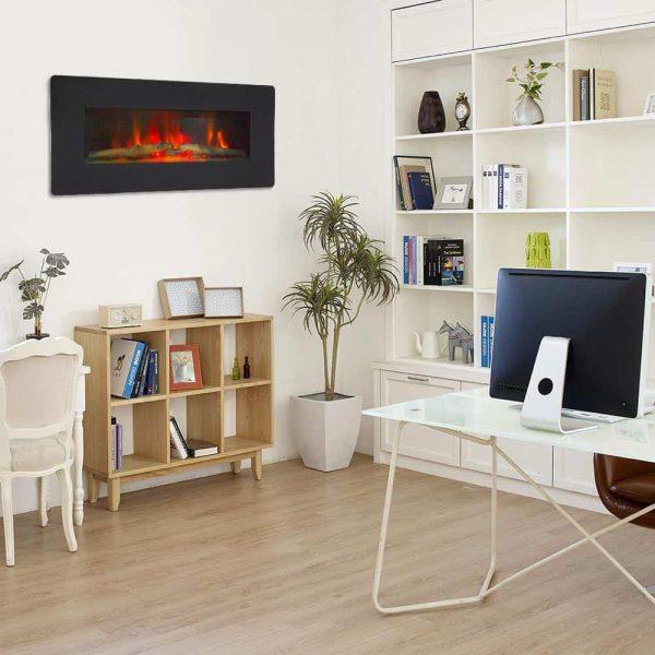 "ZOKOP 36"" Adjustable Indoor Electric Wall Mounted Fireplace Heater, Black 6"