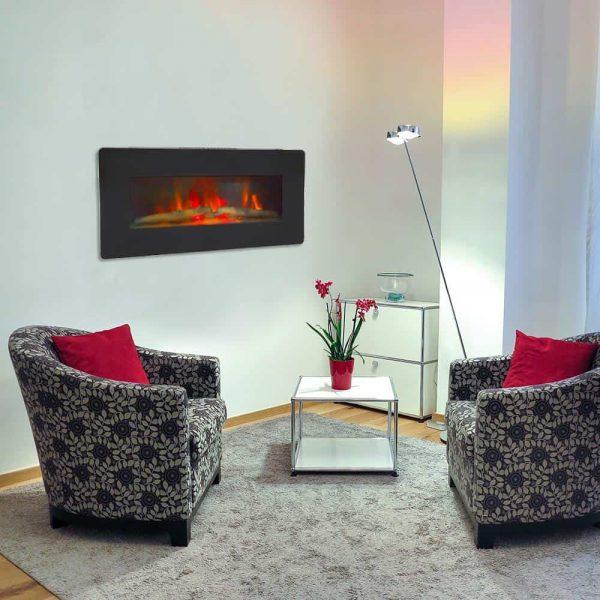 "ZOKOP 36"" Adjustable Indoor Electric Wall Mounted Fireplace Heater, Black 7"