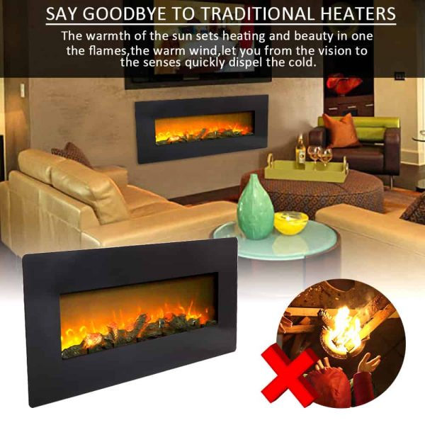 ZOKOP SF310-42AX 1400W Wall Hanging / Fireplace Single Color / Fake Wood / Heating Wire / With Small Remote Control,42 Inch Black 5