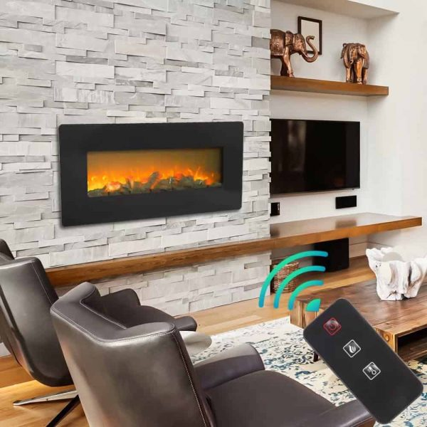 ZOKOP SF310-42AX 42 Inch 1400W Wall Hanging / Fireplace Single Color / Fake Wood / Heating Wire / With Small Remote Control Black 6
