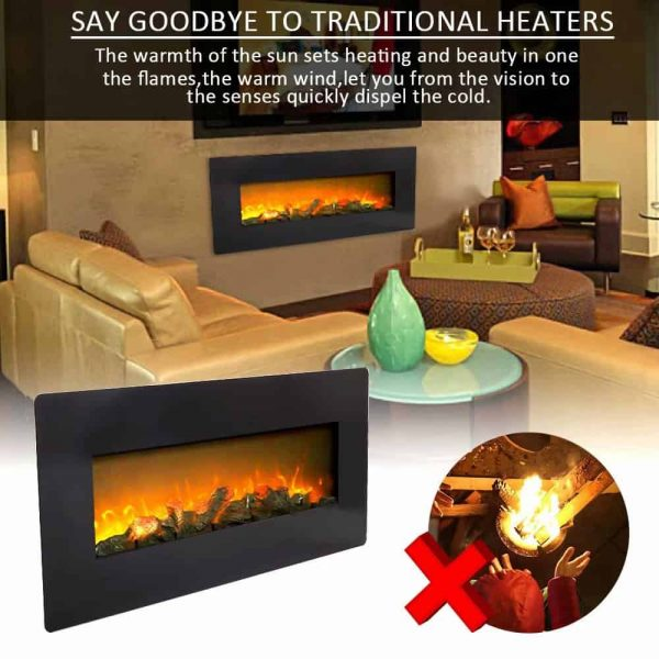 ZOKOP SF310-42AX 42 Inch 1400W Wall Hanging / Fireplace Single Color / Fake Wood / Heating Wire / With Small Remote Control Black 7