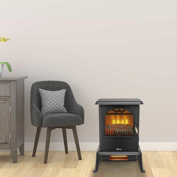 Zimtown 1000W/1500W Electric Fireplace Wood Stove Heater Portable Freestanding,ETL Certified 1