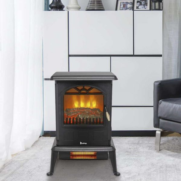 Zimtown 1500W Free Standing Electric 1500W Fireplace Heater Fire Flame Stove Wood Adjustable 2
