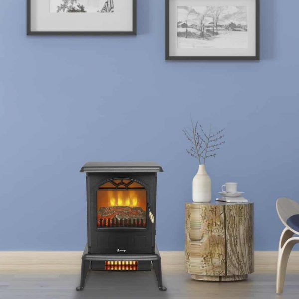 Zimtown 1500W Free Standing Electric 1500W Fireplace Heater Fire Flame Stove Wood Adjustable 3