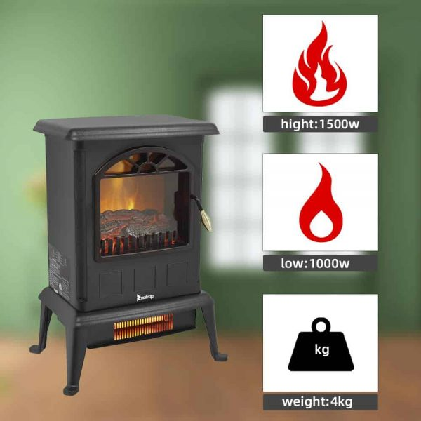 Zimtown 1500W Free Standing Electric 1500W Fireplace Heater Fire Flame Stove Wood Adjustable 5