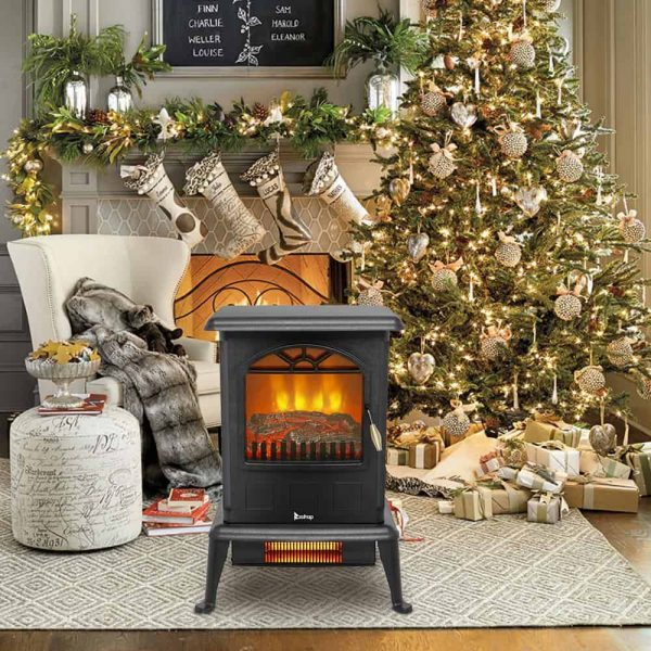 Zimtown 1500W Free Standing Electric 1500W Fireplace Heater Fire Flame Stove Wood Adjustable 6