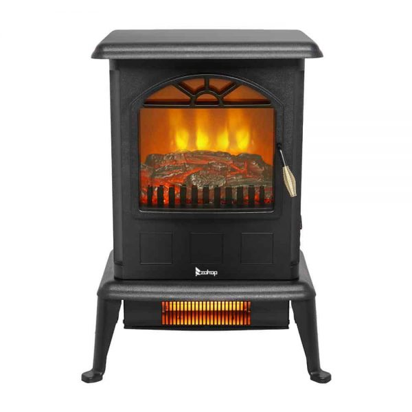 Zimtown 1500W Free Standing Electric 1500W Fireplace Heater Fire Flame Stove Wood Adjustable