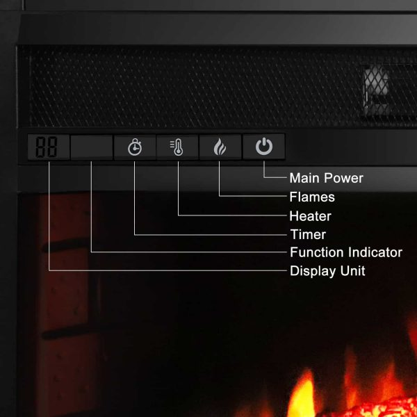 """Zimtown 26""""Embedded Fireplace Electric Insert Heater Glass View Log Flame with Remote Control,Black 1"""