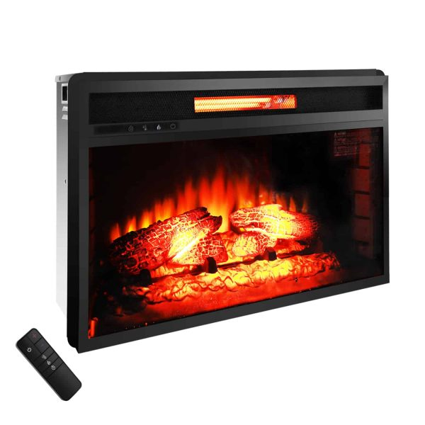 "Zimtown 26""Embedded Fireplace Electric Insert Heater Glass View Log Flame with Remote Control"