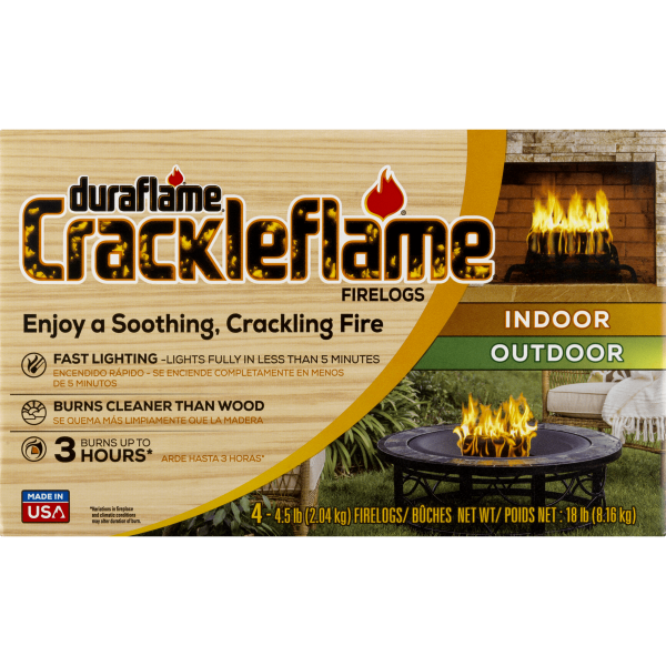 duraflame® Crackleflame® 4.5lb 3-hr Indoor/ Outdoor Firelog - 4-pack 3