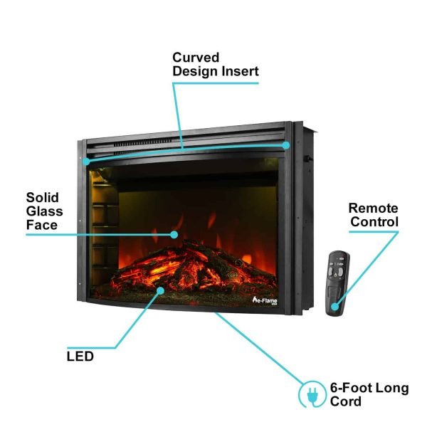 "e-Flame USA 26"" Curved Electric Fireplace Insert w/Remote Control 1"