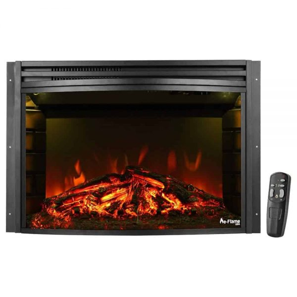 "e-Flame USA 26"" Curved Electric Fireplace Insert w/Remote Control"