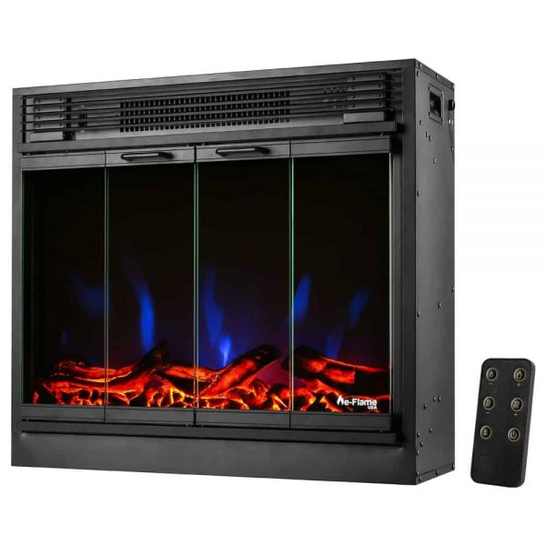 "e-Flame USA 26"" Traditional LED Electric Fireplace Insert w/Remote Control 6"