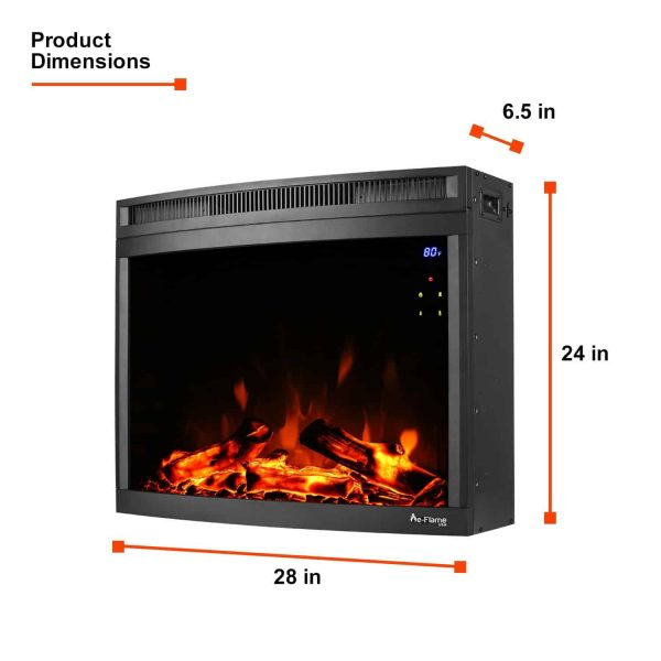 "e-Flame USA 28"" Curved LED Electric Fireplace Insert w/ Touch Screen and Remote Control 2"