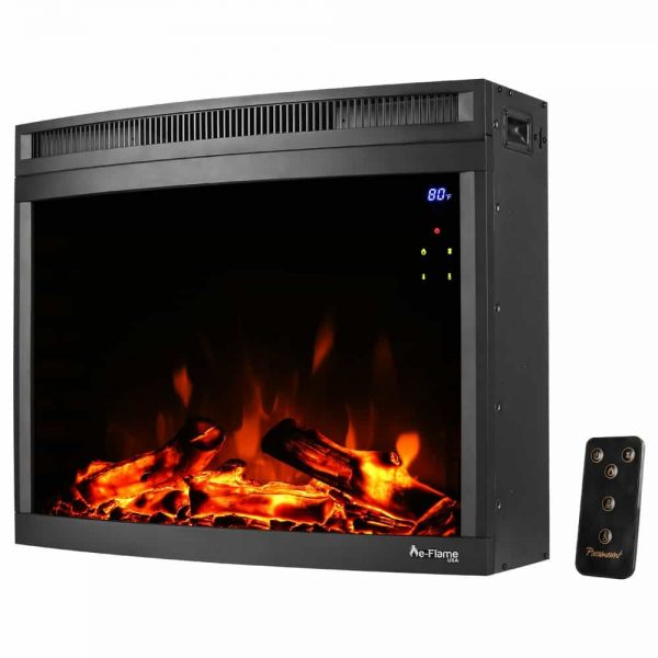 "e-Flame USA 28"" Curved LED Electric Fireplace Insert w/ Touch Screen and Remote Control 4"