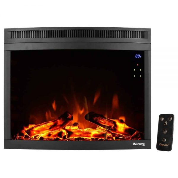 "e-Flame USA 28"" Curved LED Electric Fireplace Insert w/ Touch Screen and Remote Control"
