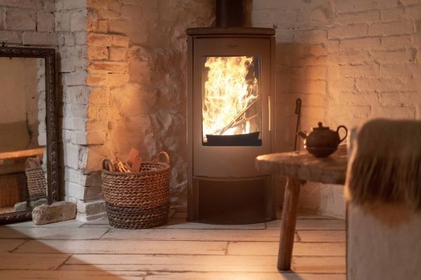 Wood stove fireplace in comfort cozy house